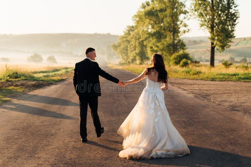 Bruid in luxueuze kledingsgangen met een bruidegom royalty-vrije stock afbeelding