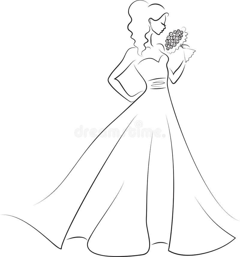 Bruid met boeket royalty-vrije illustratie