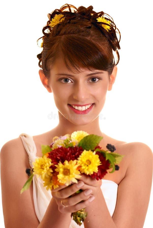 Bruid met de herfstboeket royalty-vrije stock afbeelding