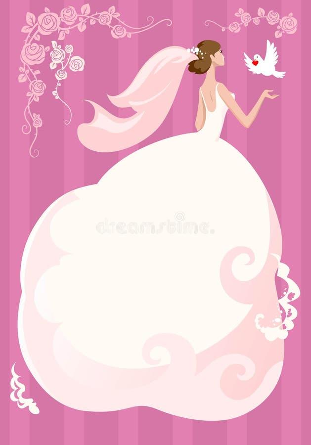 Bruid met duif royalty-vrije illustratie