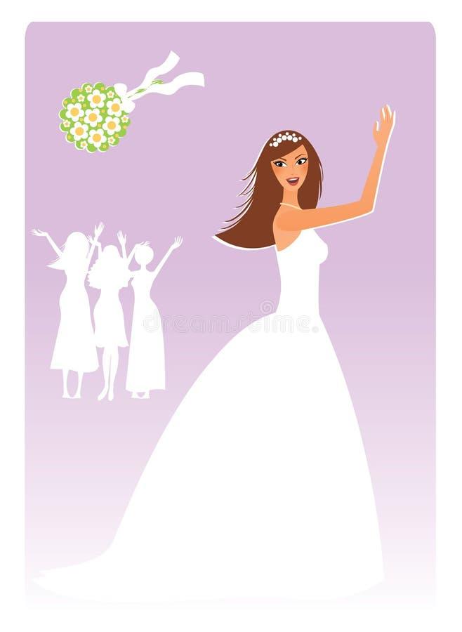 Bruid met een boeket royalty-vrije illustratie