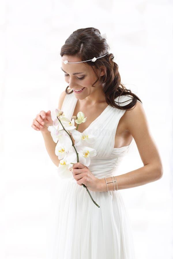 Bruid met Orchideeën royalty-vrije stock foto