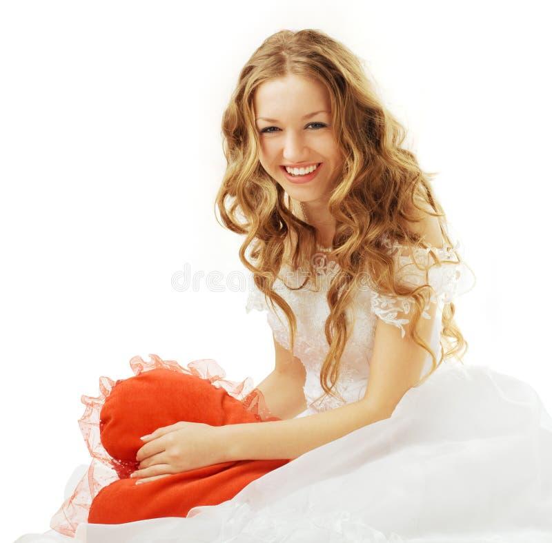 Bruid met rood hart royalty-vrije stock foto