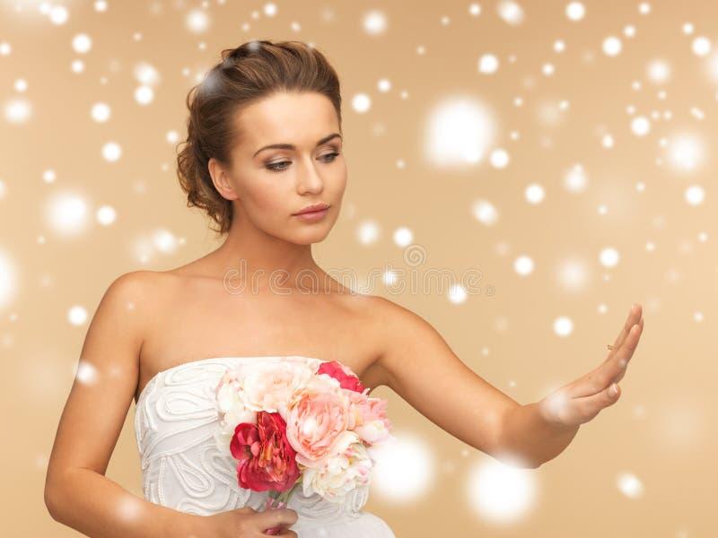 Bruid met trouwring royalty-vrije stock afbeelding