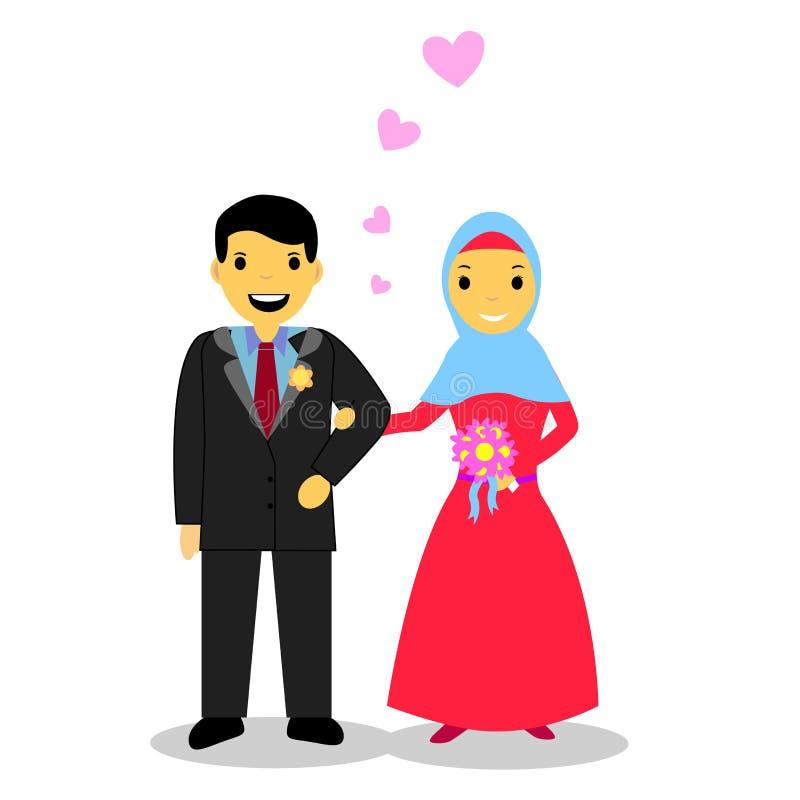 Bruid moslimpaar, op wit royalty-vrije illustratie