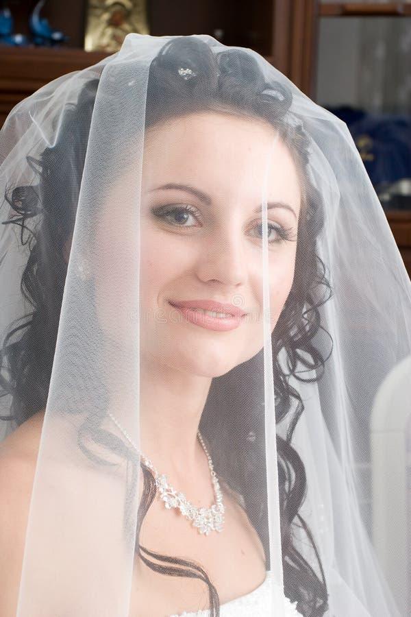 Bruid onder een sluier stock afbeelding