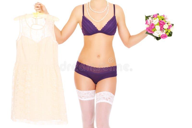 Bruid in ondergoed royalty-vrije stock afbeeldingen