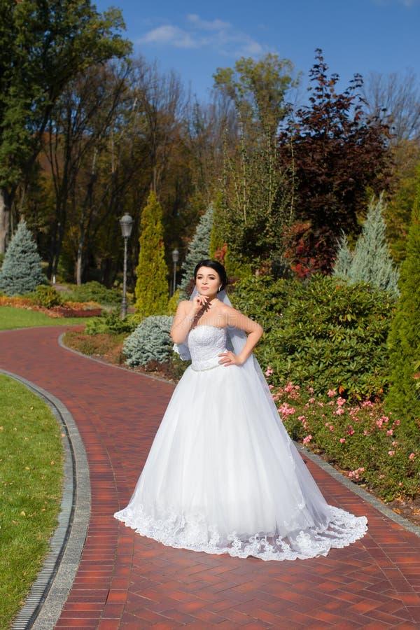 Bruid op een promenade in een de zomerpark royalty-vrije stock afbeeldingen