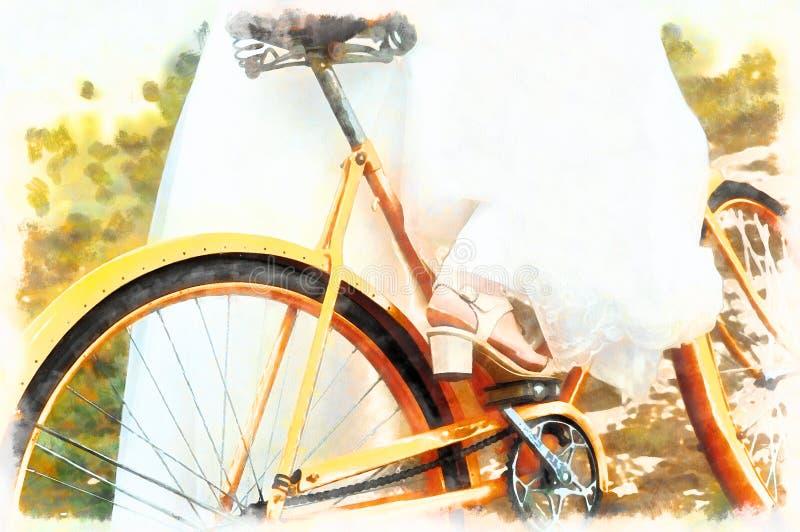 Bruid op oranje fiets in mooie huwelijkskleding Het concept van het huwelijk computer het schilderen effect royalty-vrije stock fotografie