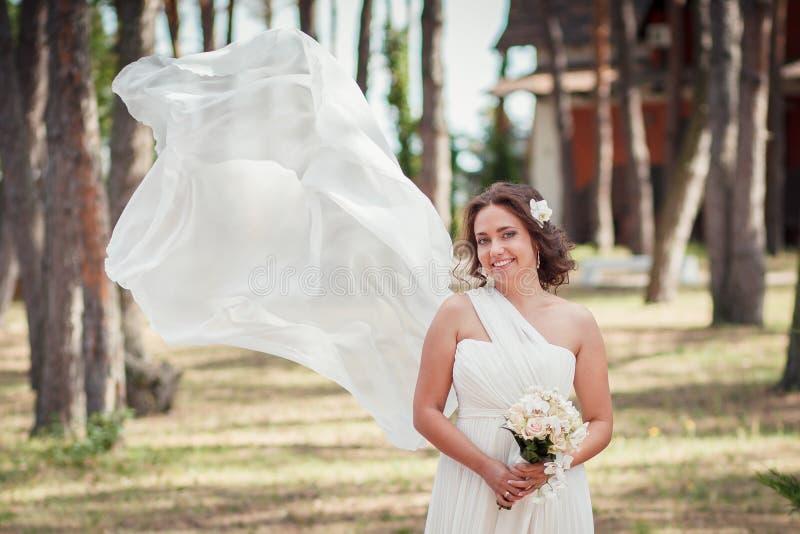 Bruid, sluier, het vliegen, wind stock fotografie