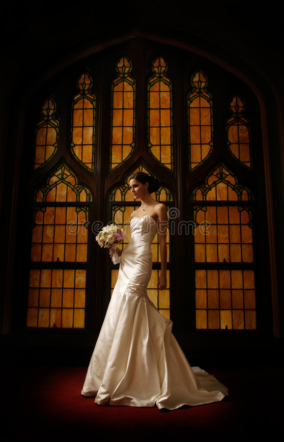 Bruid voor gebrandschilderd glasvenster royalty-vrije stock afbeeldingen