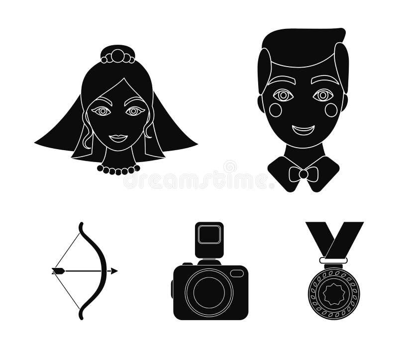 Bruidegom, bruid, het fotograferen, pijl van de cupido Pictogrammen van de huwelijks de vastgestelde inzameling in de zwarte voor royalty-vrije illustratie
