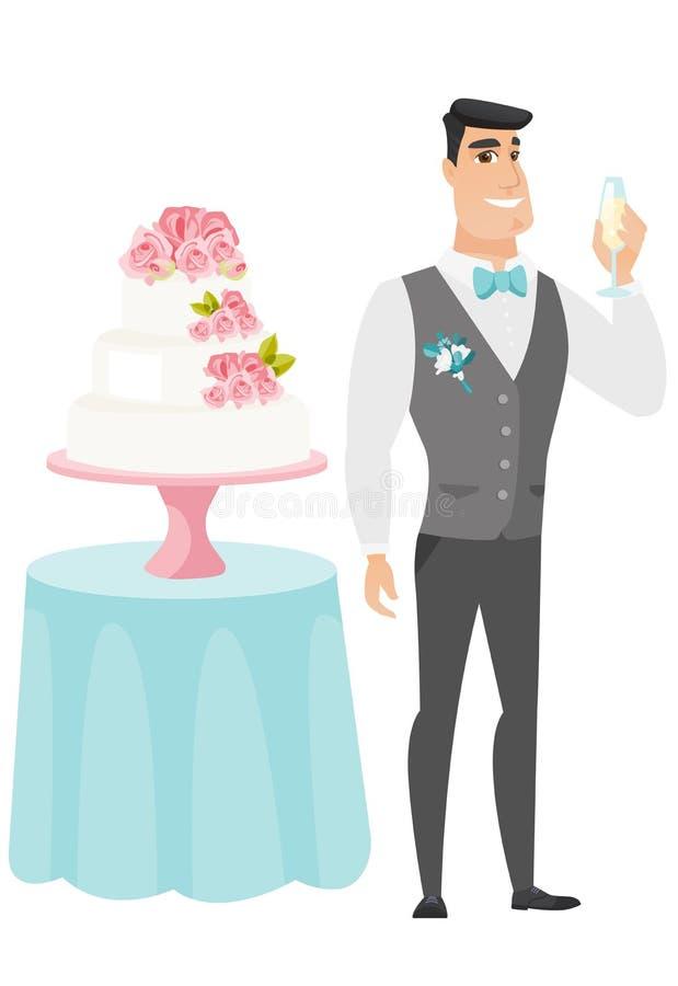 Bruidegom die zich dichtbij cake met glas champagne bevinden stock illustratie