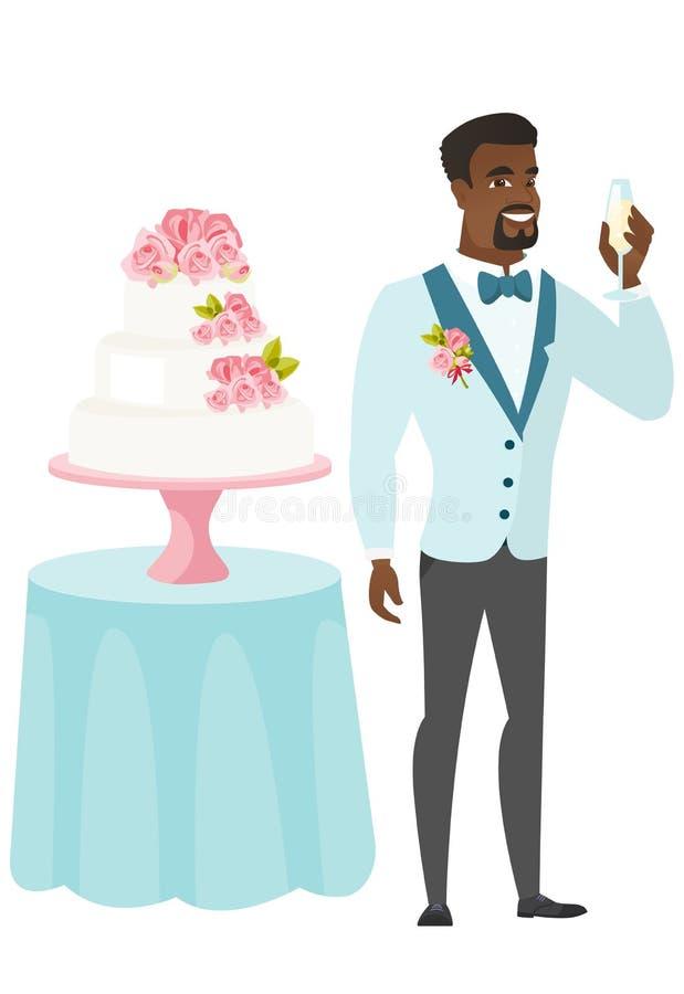 Bruidegom die zich dichtbij cake met glas wijn bevinden stock illustratie