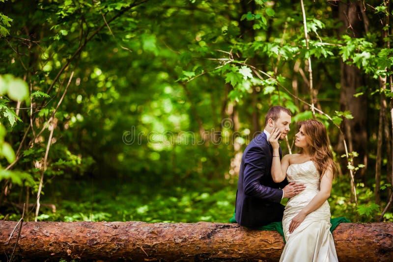 Bruidegom en bruid in Mei royalty-vrije stock foto