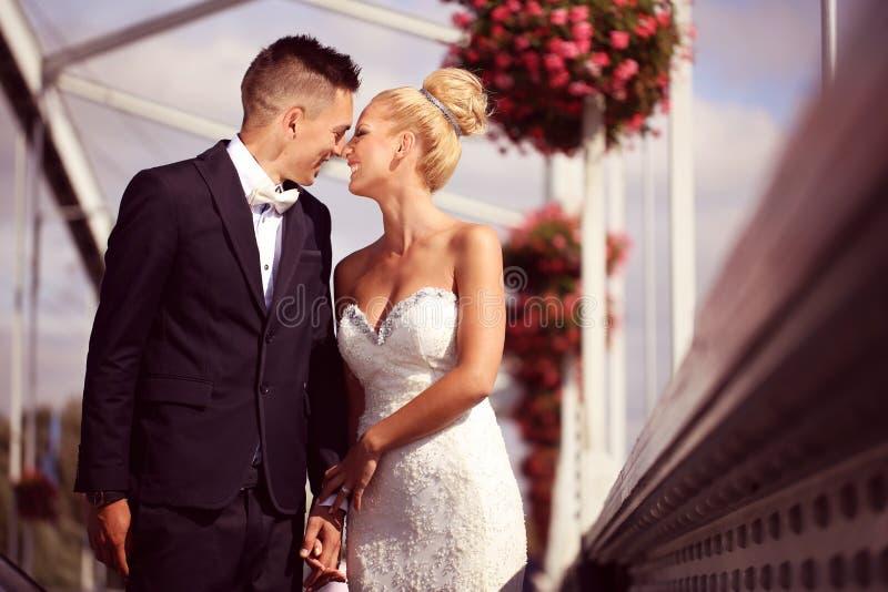 Bruidegom en bruid op metaal royalty-vrije stock foto's