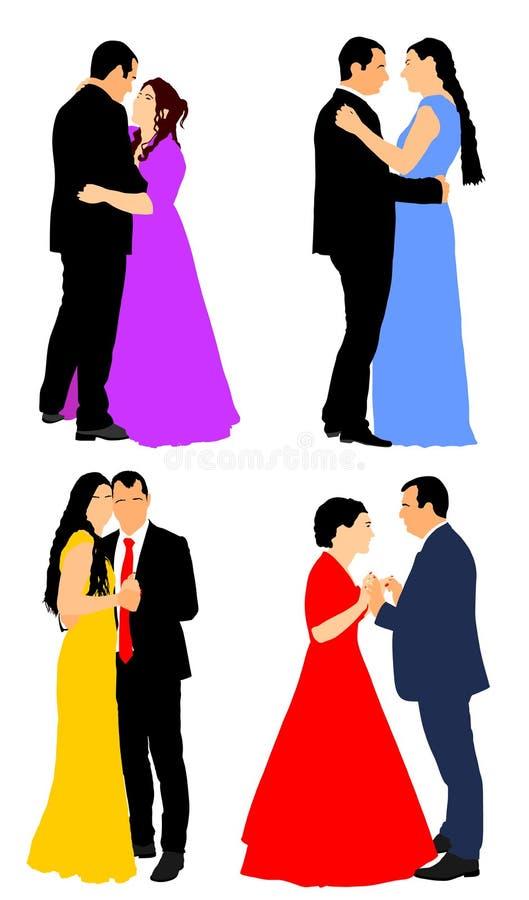 Bruidegom en bruidhuwelijksdag, in kleding en kostuum Klassieke dansersparen stock illustratie