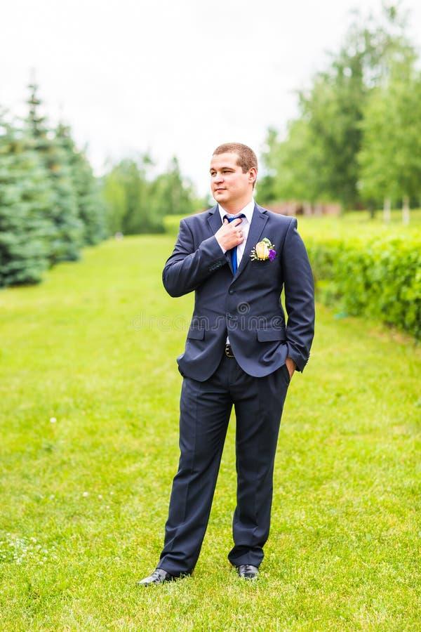 Bruidegom in kostuum op de aard Mannelijk portret in openlucht Knappe kerel in openlucht royalty-vrije stock foto