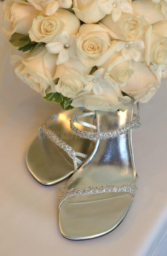 Bruidpaar van schoenenvrouw, stock afbeelding