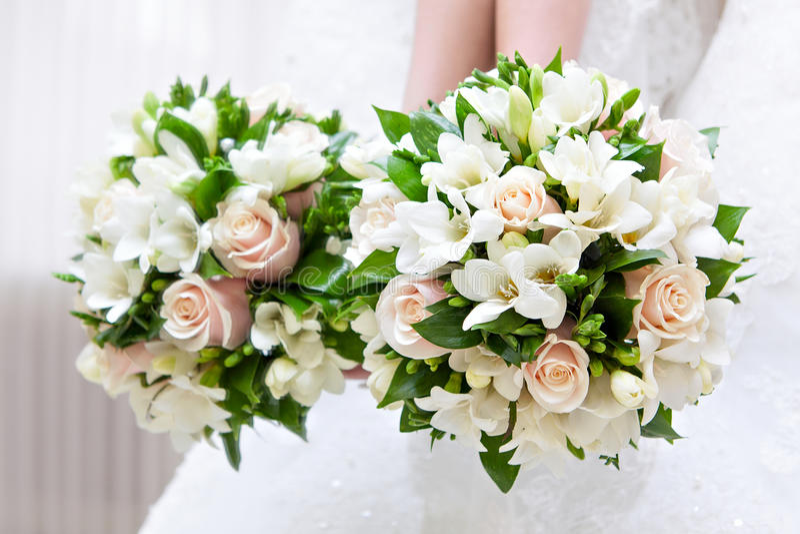 Bruids boeket bij een huwelijkspartij royalty-vrije stock foto
