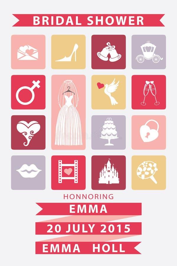 Bruids doucheuitnodiging met Vlakke pictogrammen, huwelijk vector illustratie