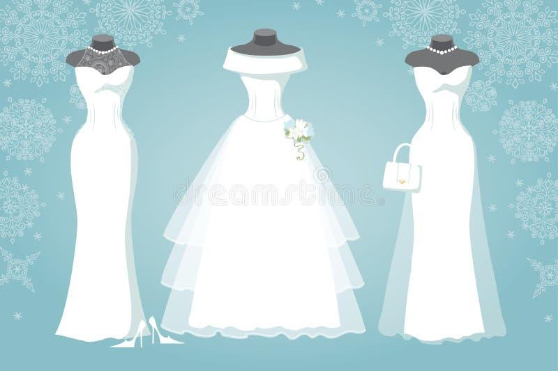 Bruids kleding drie De sneeuwvlokachtergrond van de winter royalty-vrije illustratie