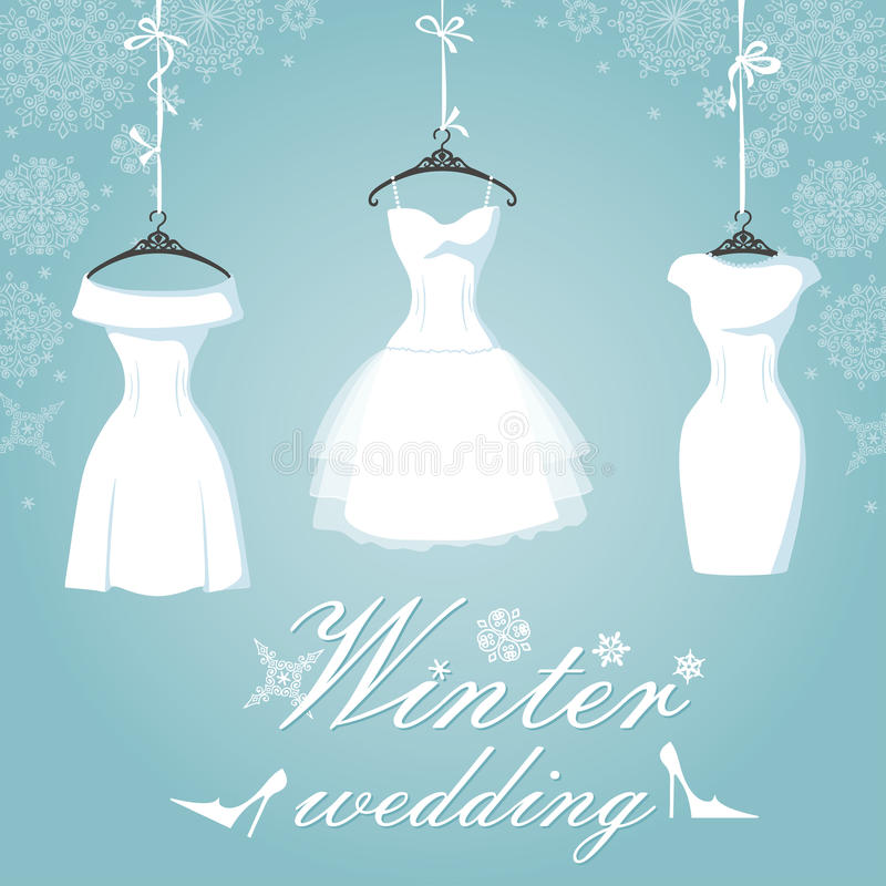 Bruids kleding drie Het huwelijk van de winter sneeuwvlok stock illustratie