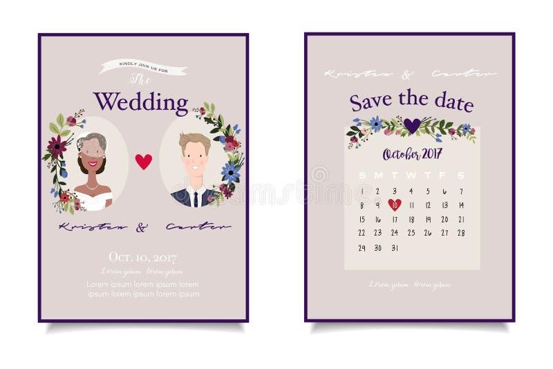 Bruids paarclose-up op uitstekende huwelijksuitnodiging met aangepaste datum vector illustratie