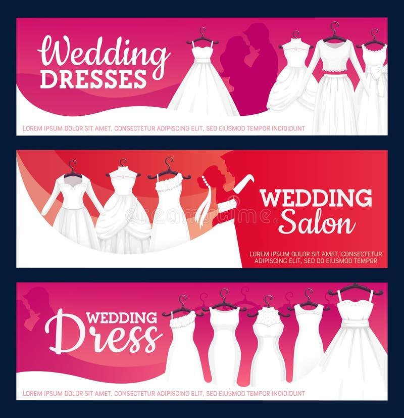 Bruids toga'sboutique, salon van huwelijkskleding stock illustratie