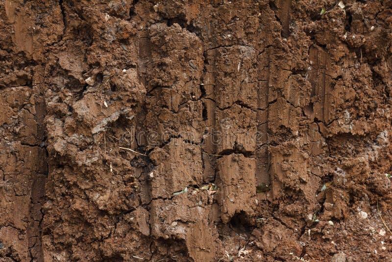 Bruin achtergrondgrondgraafwerktuig en bulldozerblad stock afbeelding