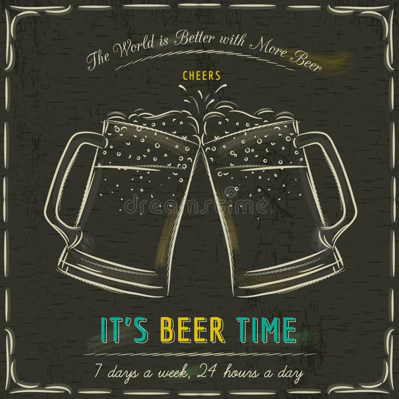 Bruin bord met twee koude mokken bier royalty-vrije illustratie