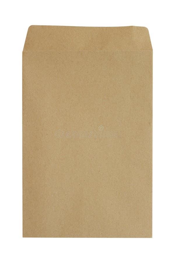 Bruin die envelopdocument op witte achtergrond wordt geïsoleerd Knippende weg royalty-vrije stock afbeeldingen