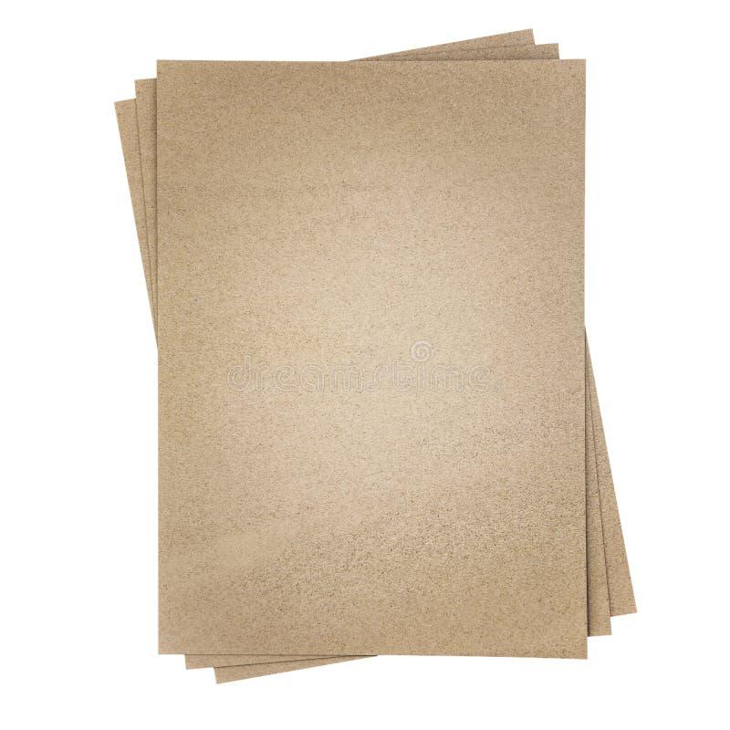 Bruin die schuurpapier, op witte achtergrond wordt geïsoleerd stock foto