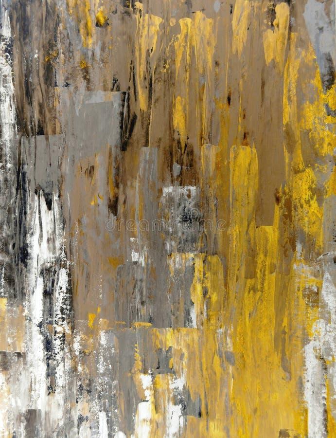 Bruin en Geel Abstract Art Painting stock afbeelding