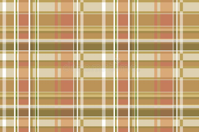 Bruin geruit Schots wollen stof naadloos vectorpatroon Geruite plaidtextuur Geometrische eenvoudige vierkante donkere achtergrond stock illustratie