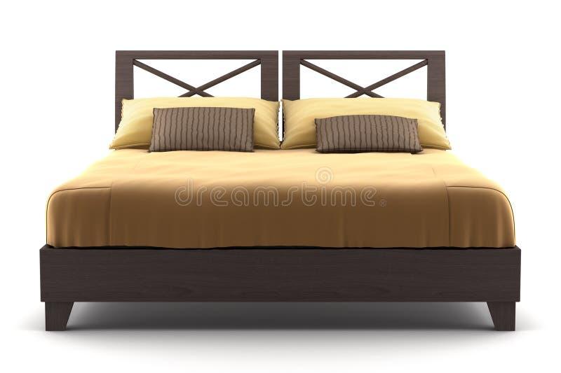 Bruin houten bed dat op wit wordt geïsoleerd stock foto's