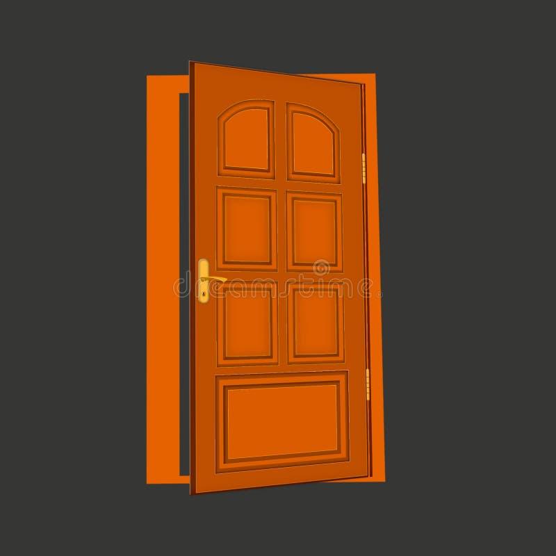 Bruin houten deur vlak pictogram op achtergrond stock illustratie