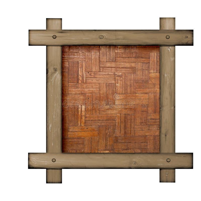 Bruin houten kader tegen een witte achtergrond met exemplaarruimte in het centrum stock foto