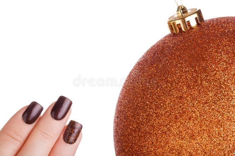 Bruin nagellak stock foto