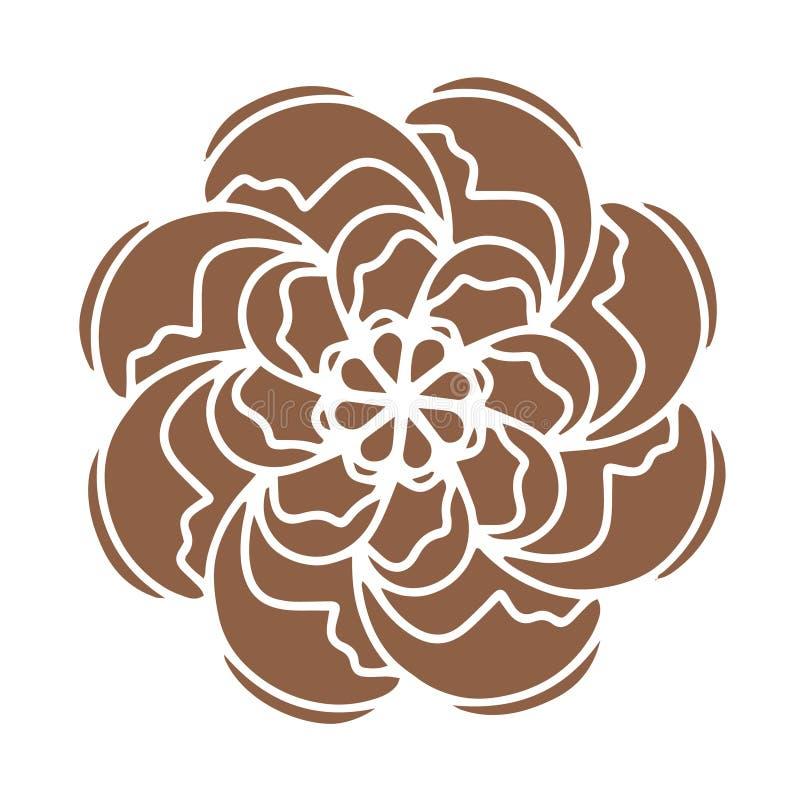 Bruin nam organische installatie van het Bloem de vectorpictogram toe Hand getrokken huwelijksaffiche of prentbriefkaar De bloeme vector illustratie