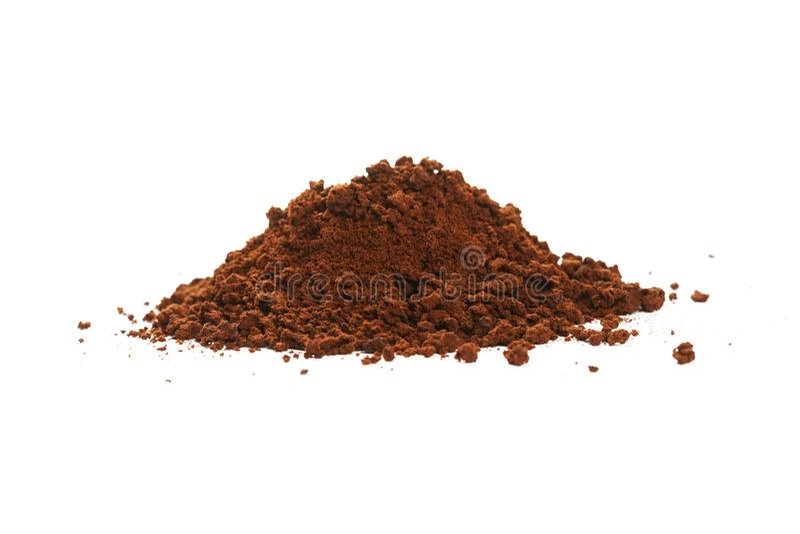 Bruin onmiddellijke koffiepoeder royalty-vrije stock afbeelding