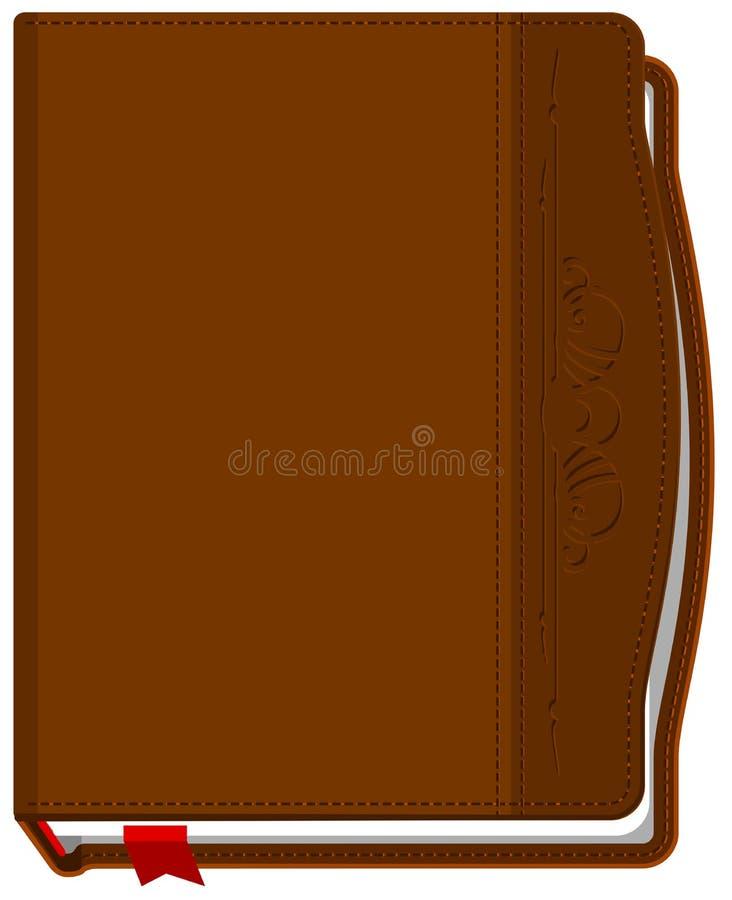 Bruin sloot het boek met een rode referentie stock illustratie