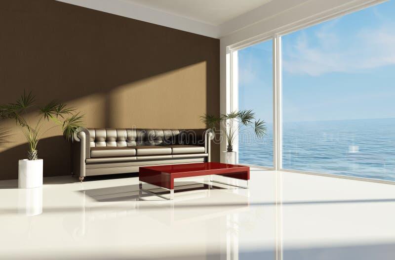 Bruin strandhuis royalty-vrije illustratie