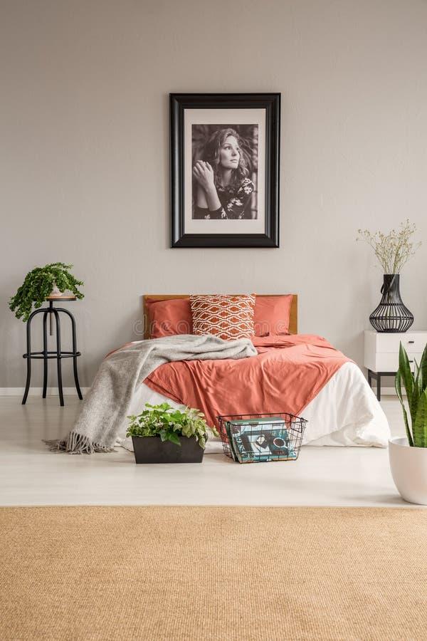 Bruin tapijt voor rood bed met hoofdkussens in grijs slaapkamerbinnenland met installaties en affiche royalty-vrije stock fotografie