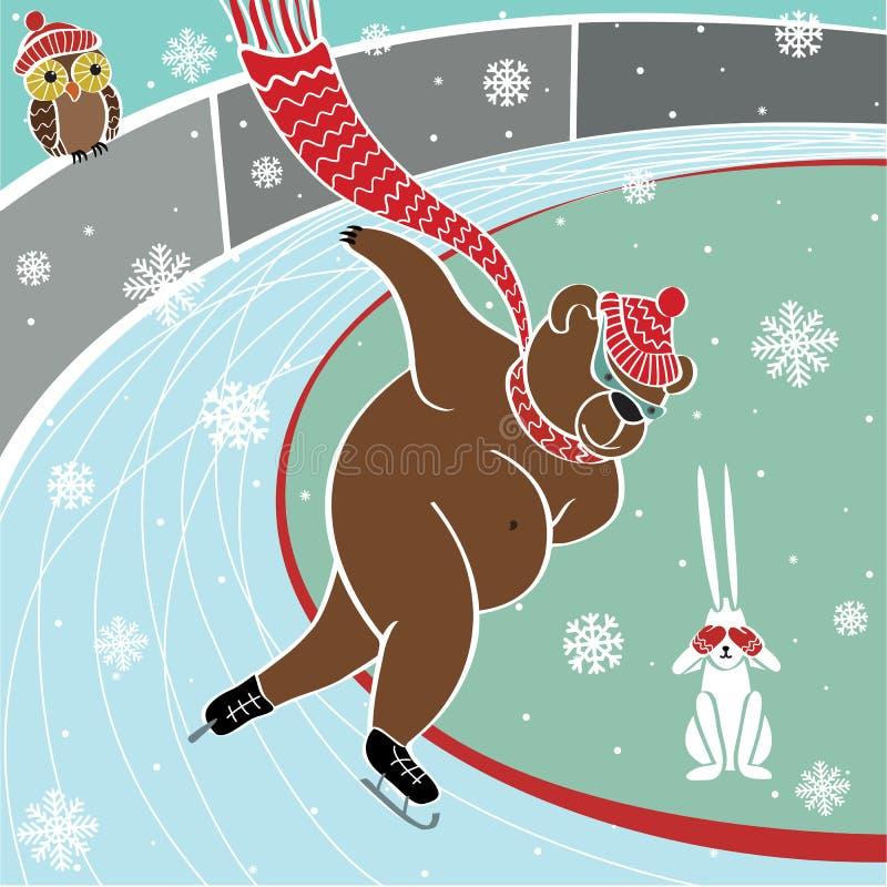 Bruine één draagt is Sprinter het schaatsen. Humoristische vector royalty-vrije illustratie