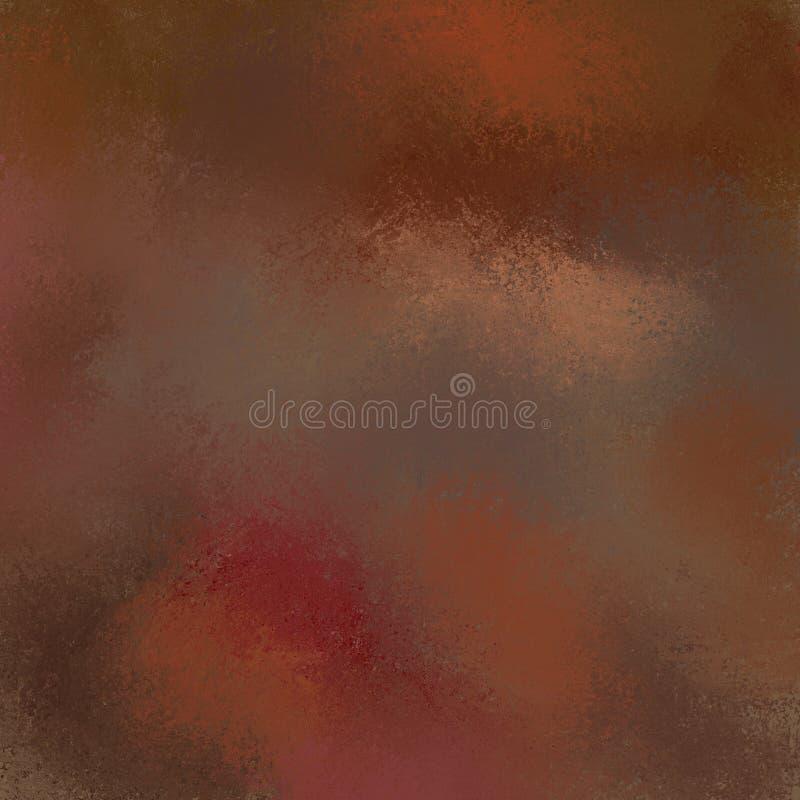 Bruine achtergrond met gesmeerde verf in warme kleuren van rode oranje en roze, abstracte grungetextuur als achtergrond royalty-vrije illustratie