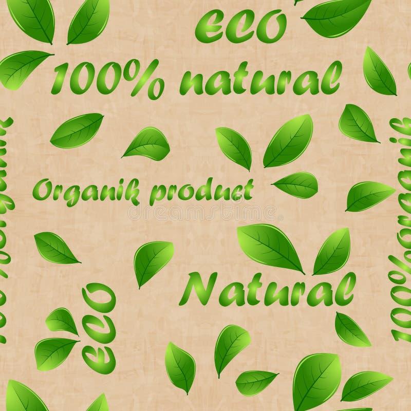 Bruine achtergrond met inschrijvingen Oude vector retro uitstekende grunge naadloze textuur voor bio/biologisch product Vector EP royalty-vrije illustratie