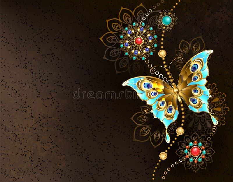Bruine achtergrond met turkooise vlinder royalty-vrije illustratie