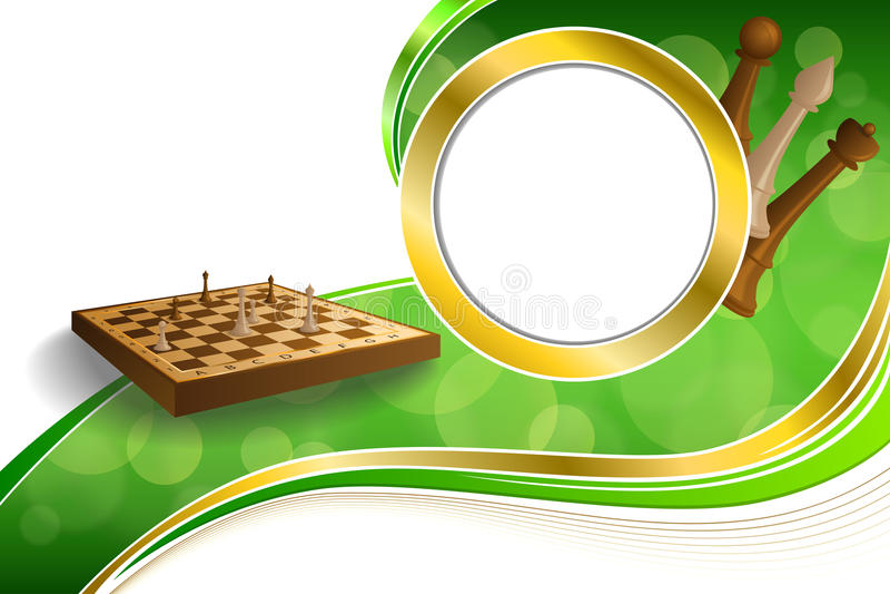 Bruine beige de raadscijfers van het achtergrond omcirkelen de abstracte groene gouden schaakspel kaderillustratie royalty-vrije illustratie
