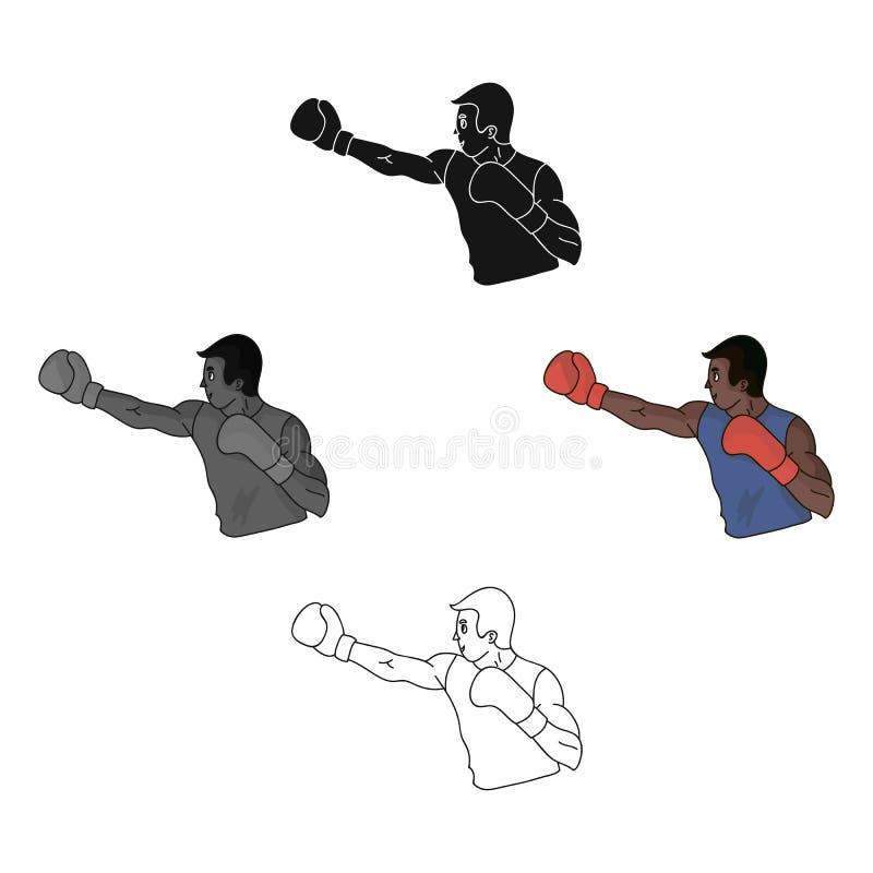 Bruine bokser in bokshandschoenen De Olympische sport van het In dozen doen De olympische sporten kiezen pictogram in beeldverhaa royalty-vrije illustratie